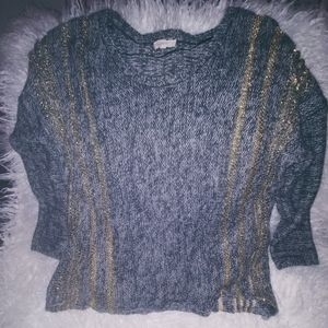 Gray and Gold accent Sweater